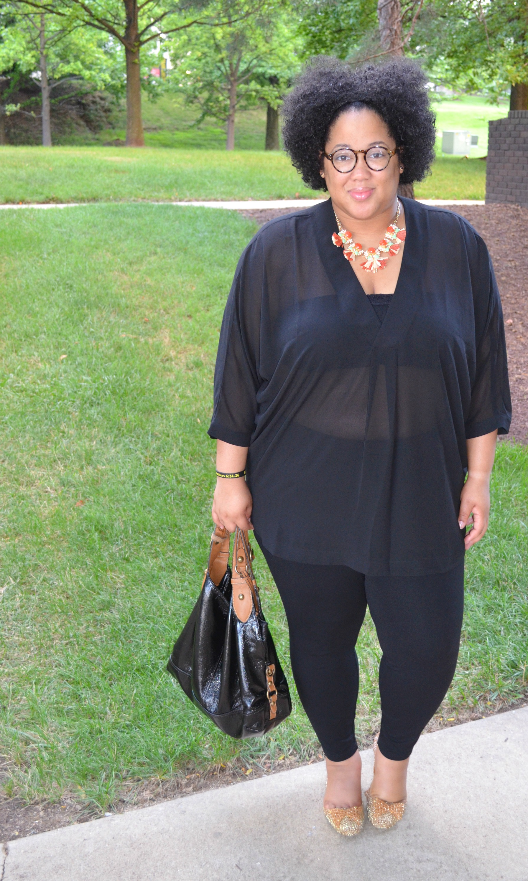 Sheer Blouse and Statement Necklace
