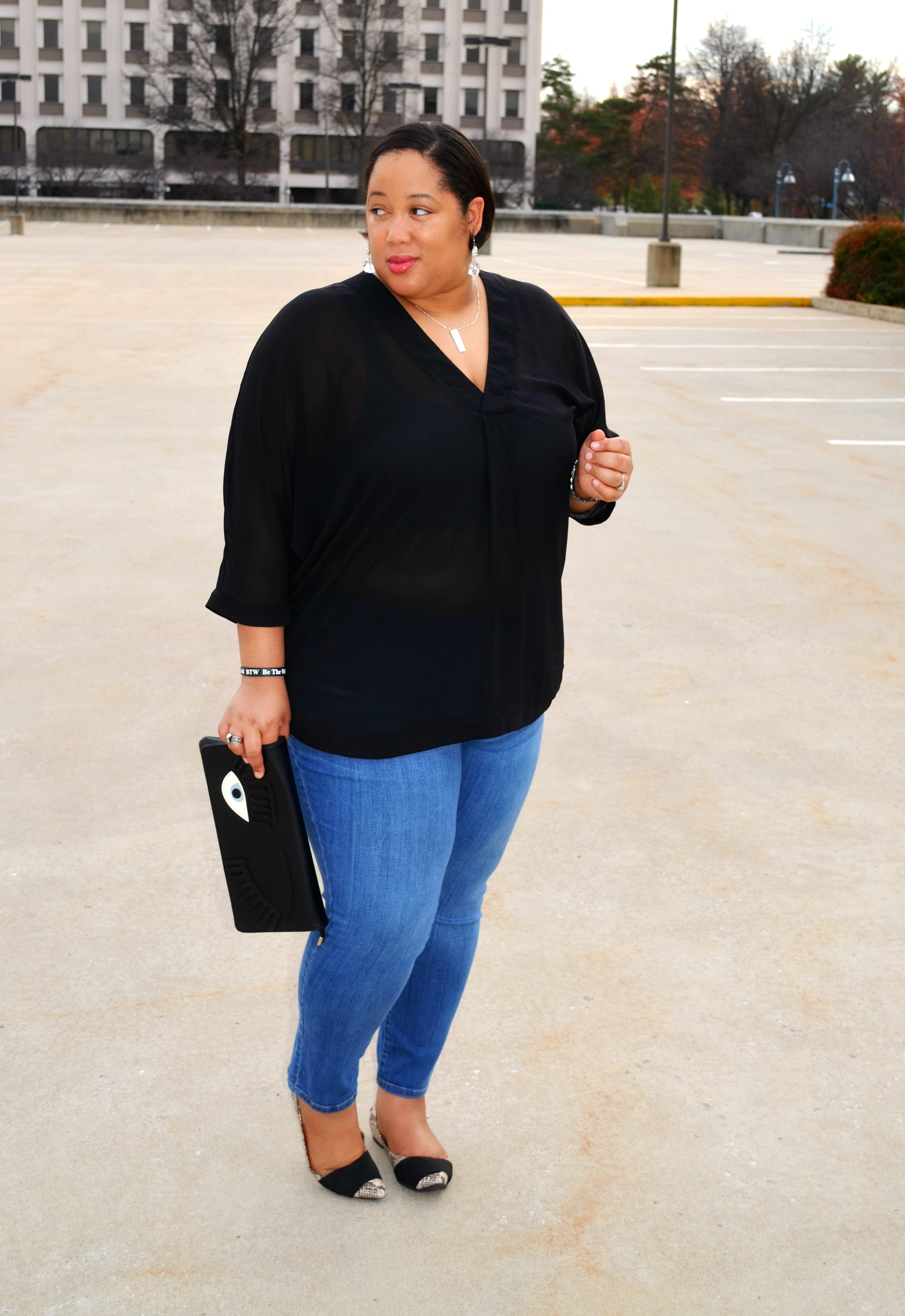 Denim and Sheer Blouse - OOTD