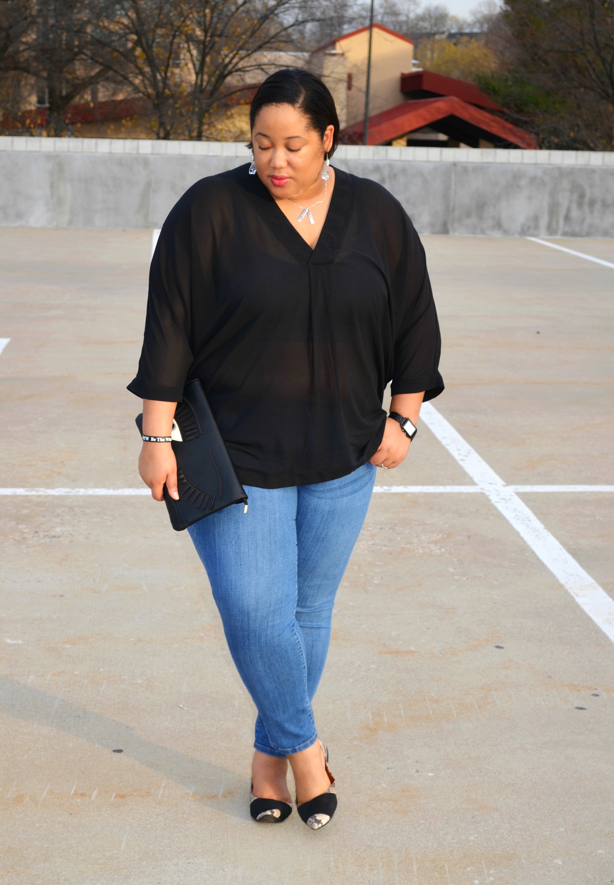 Denim and Sheer Blouse OOTD