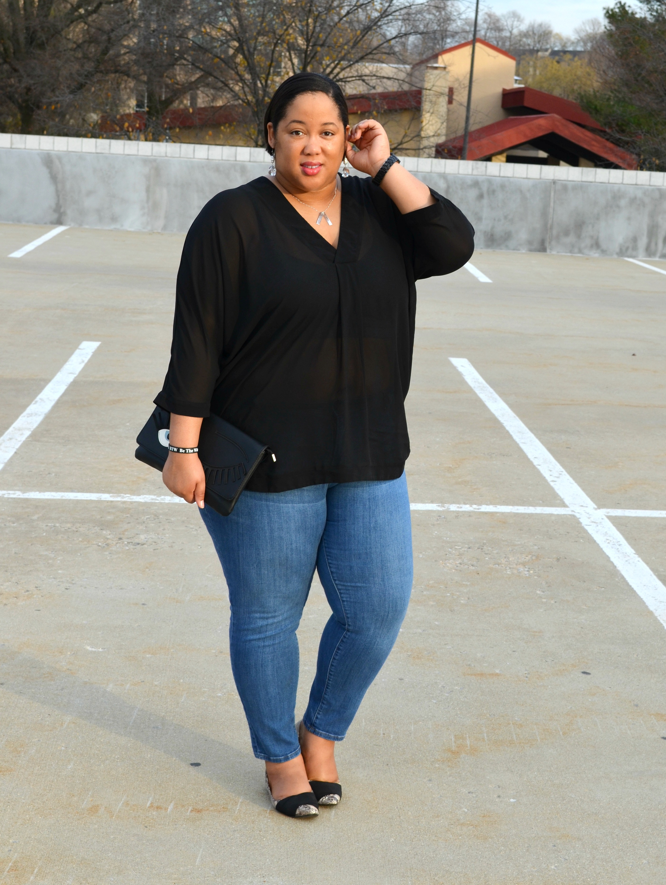 OOTD - Denim and Sheer Blouse
