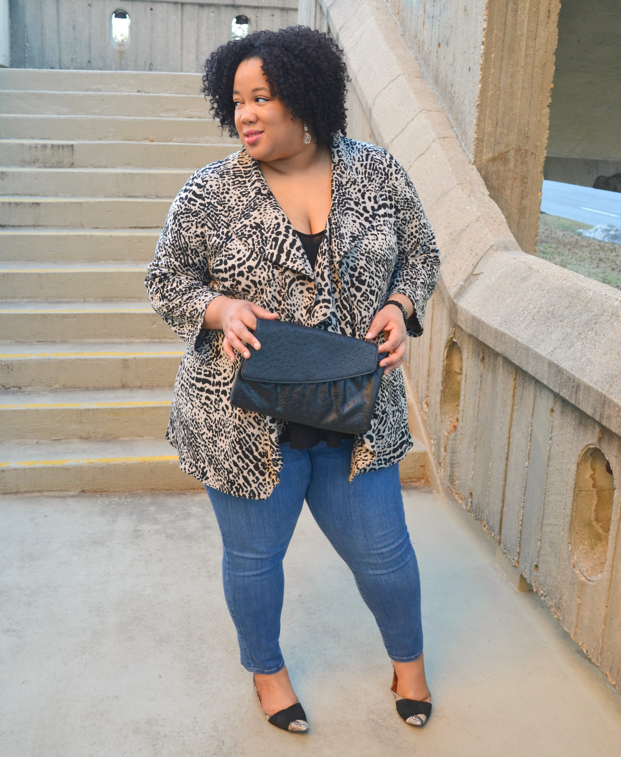 Denim and Animal Print Outfit