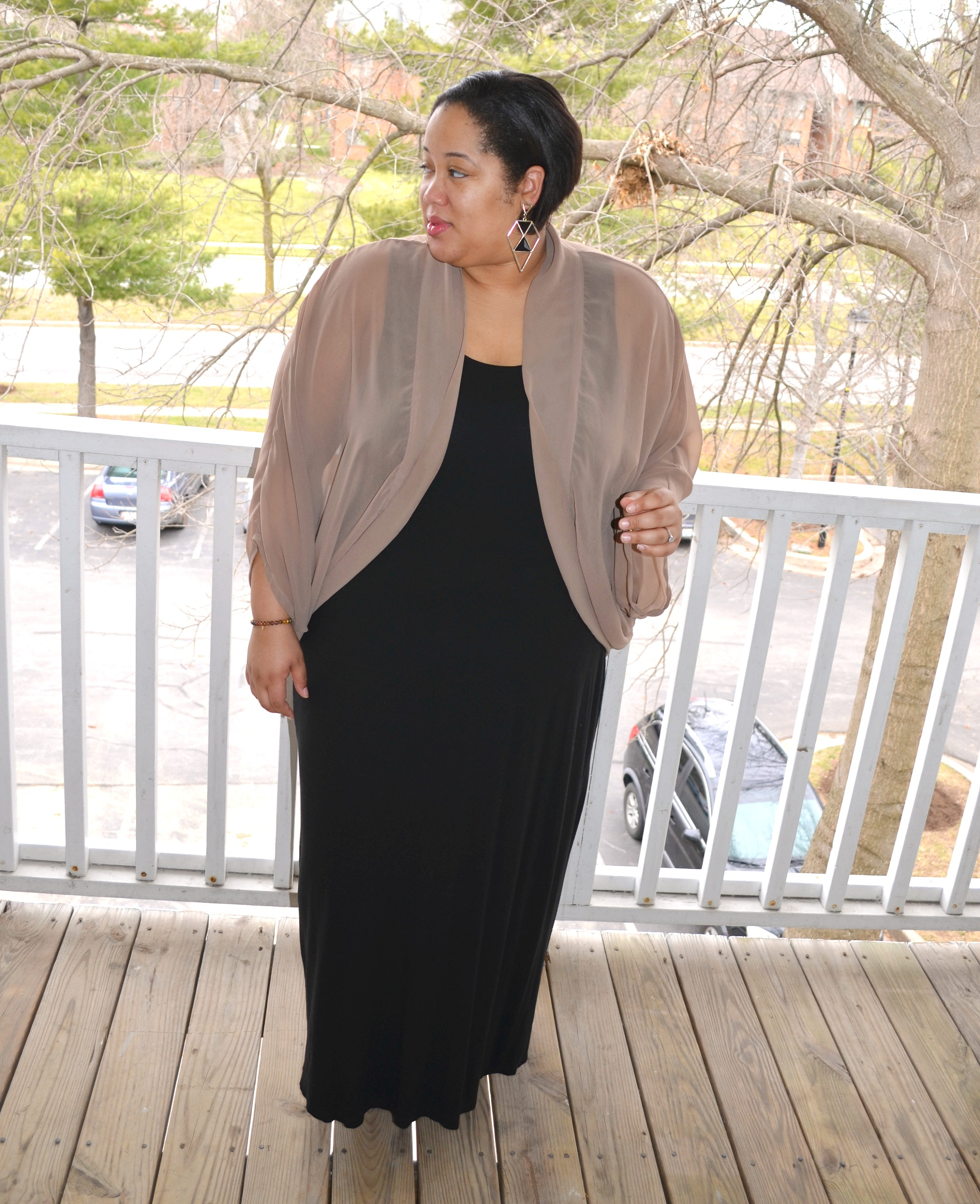 Personal Stye | Black Maxi Dress & Sheer Cardigan
