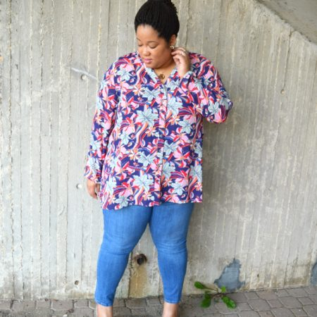Denim and Floral Blouse